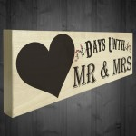 Days Until Mr & Mrs Wooden Freestanding Plaque Chalkboard