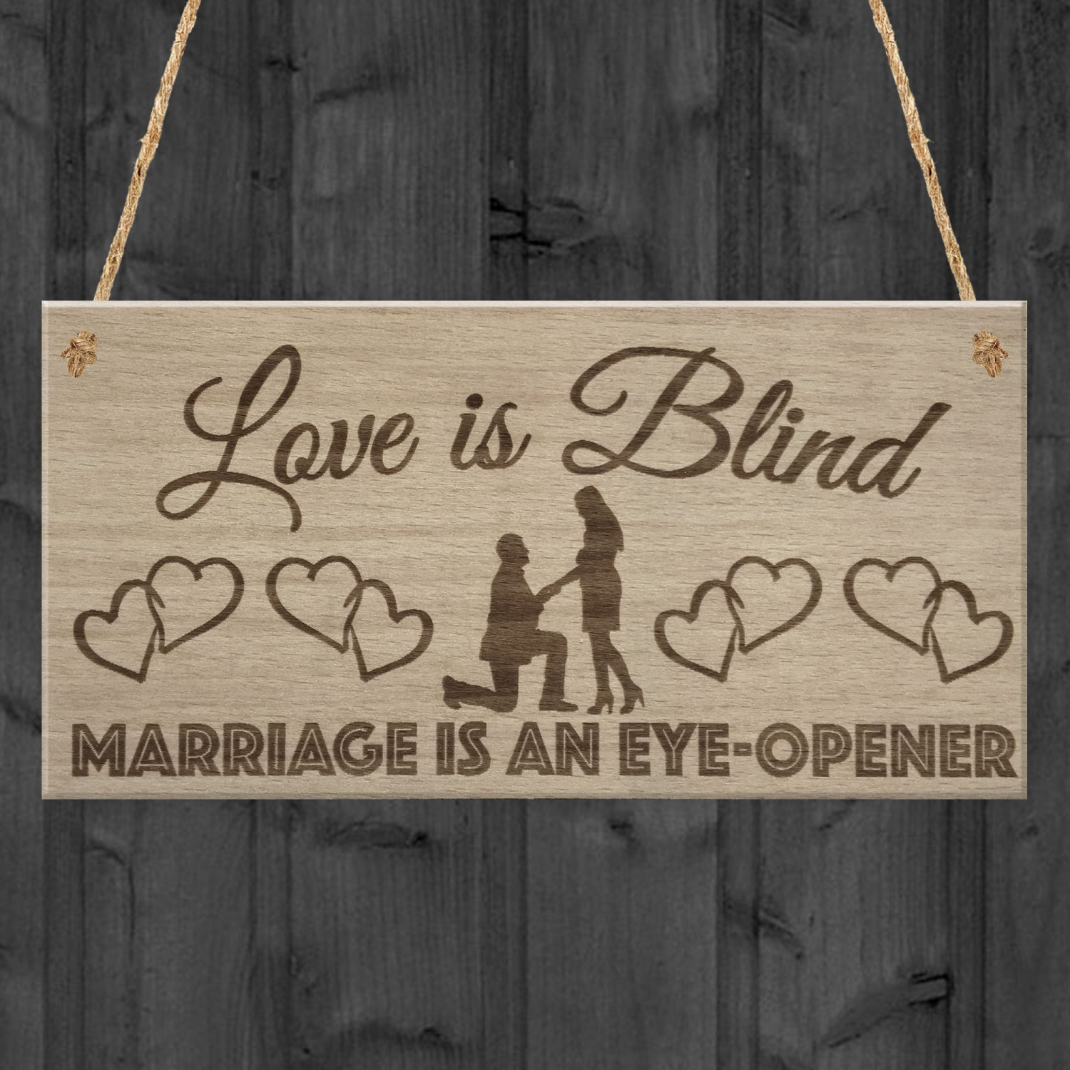 Funny Wedding Gifts.Love Is Blind Marriage Funny Wedding Gift Married Hanging Plaque