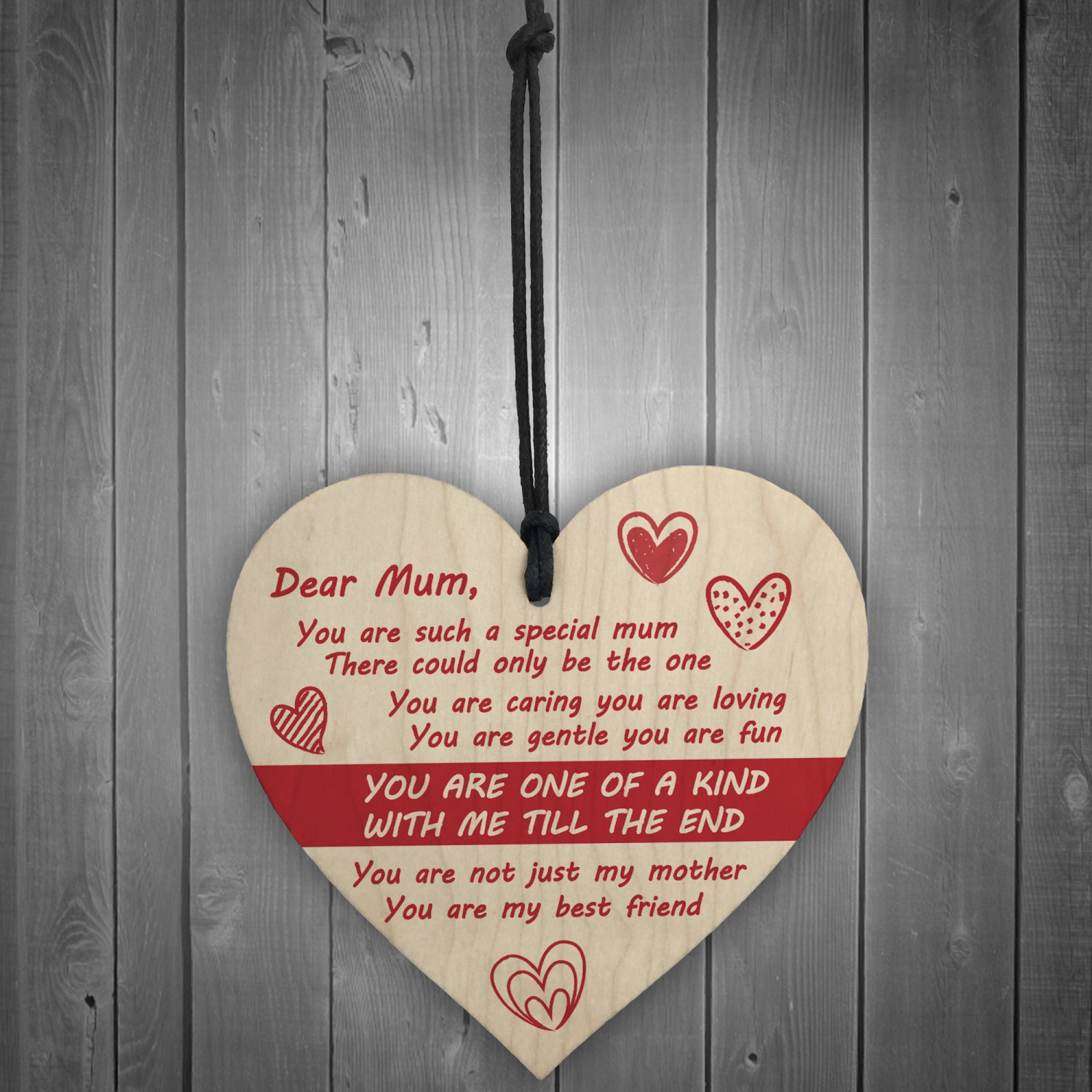 Dear Mum Hanging Heart Sign Mothers Day Birthday Gifts