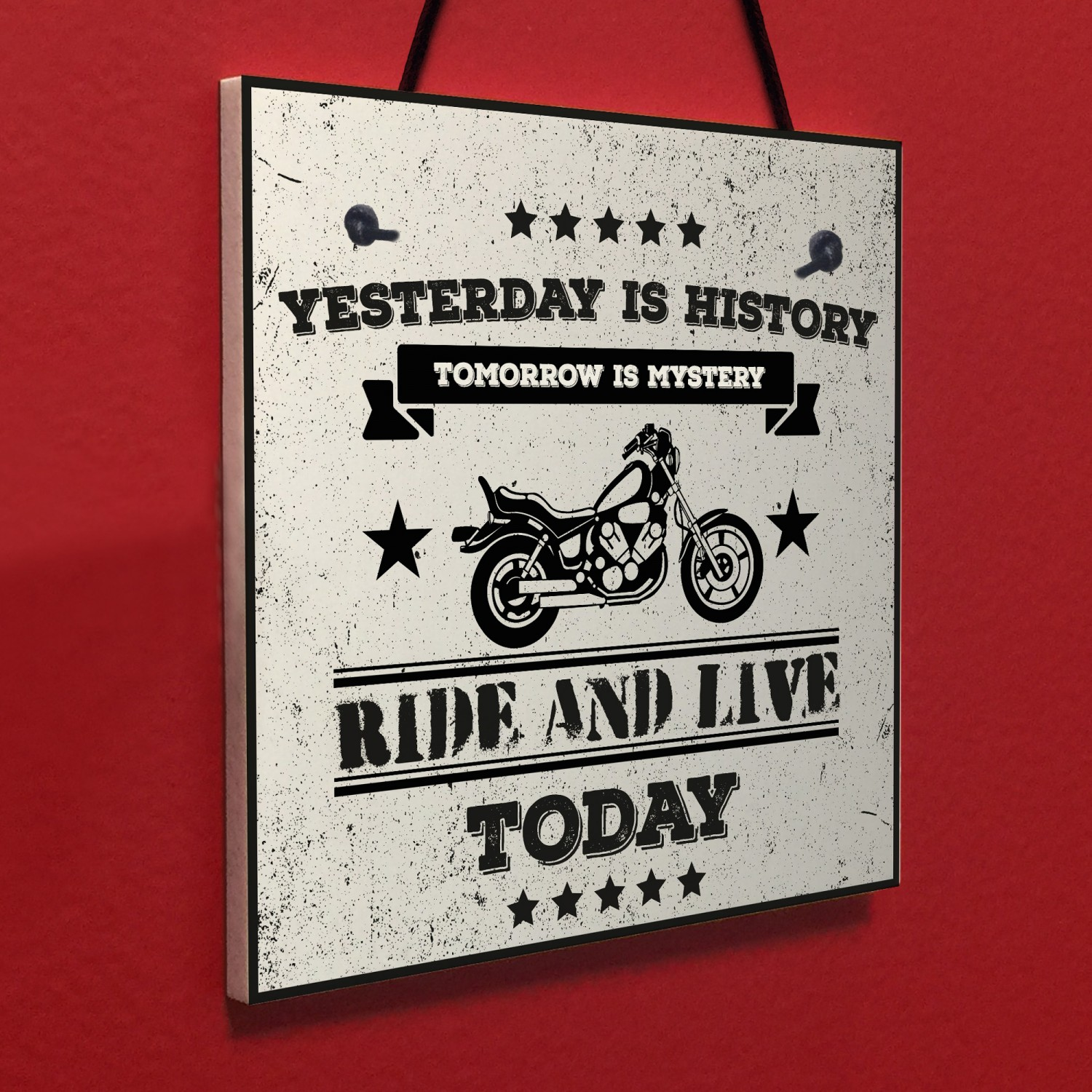 Motorbike Man Cave Hanging Plaque Garage Gift Motorcycle Sign