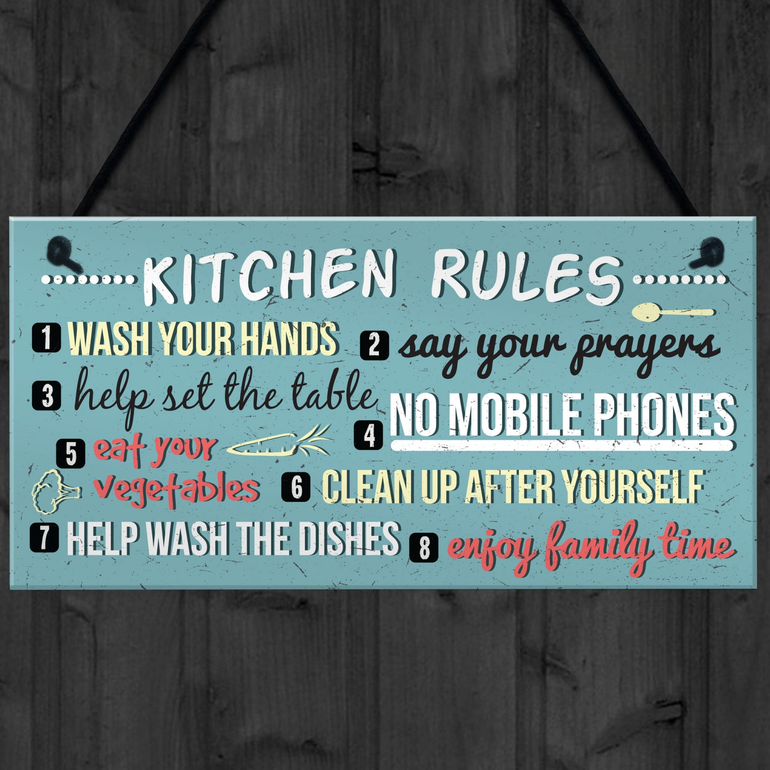 Funny Rustic Kitchen House Rules Hanging Wall Plaque Sign Gift