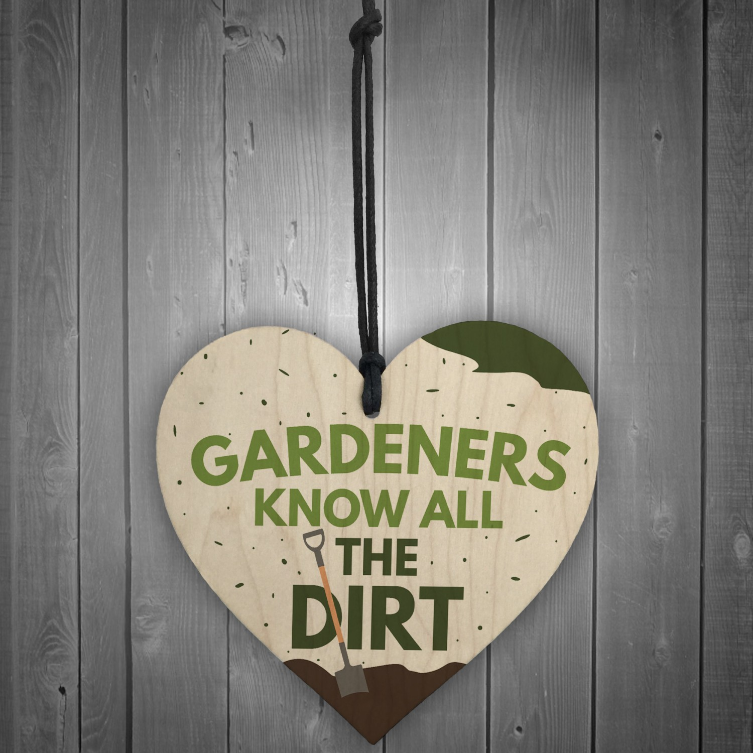 """Novelty wooden garden hanging sign plaque /""""gardeners know all the dirt/"""" gift"""