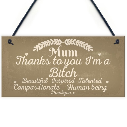 Mum Thanks To You I'm A Bitch Hanging Signs Mothers Day Plaques
