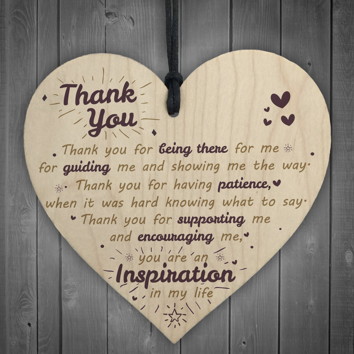 Thank You For Being There Wooden Hanging Heart Friendship