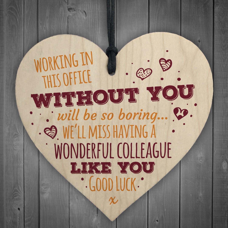 Wonderful Colleague Wooden Heart Plaque Friendship Sign