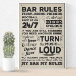 Bar Rules Hanging Plaque Alcohol Beer Pub Plaque Man Cave Sign