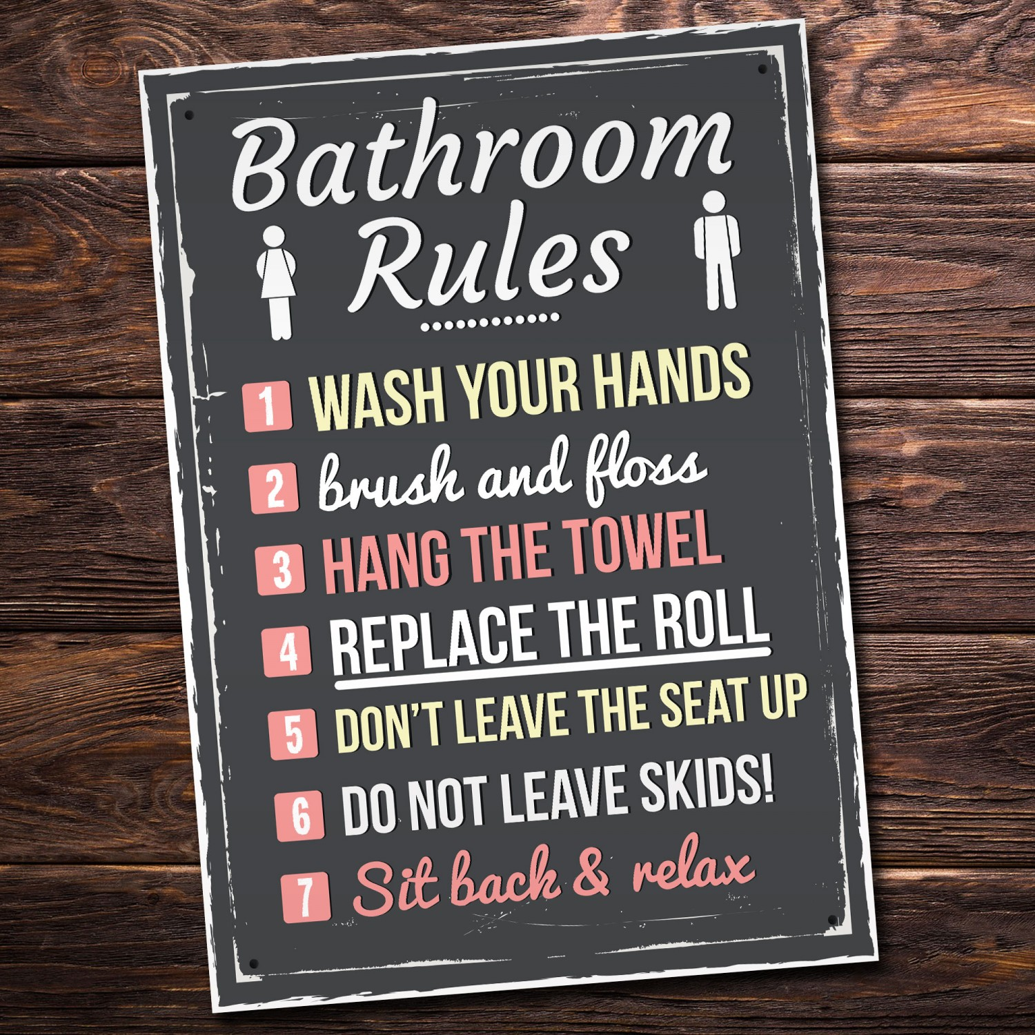 Bathroom Rules Funny Toilet Door Wall Sign Novelty Joke Plaque