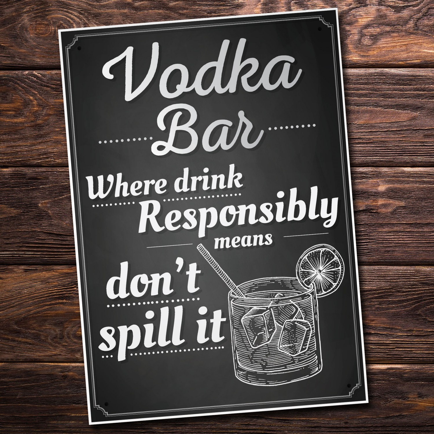 Vodka Bar Hanging Plaque Alcohol Party Birthday Gift Garden Pub