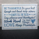 Be Thankful Family Rules Wall Plaque New Home Kitchen Friendship