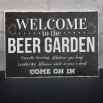 Chalk Welcome To The Beer Garden Hanging Wall Sign Landlord Pub