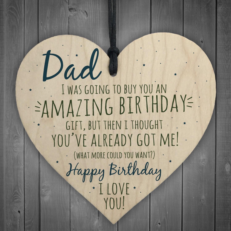 Amazing Happy Birthday Wooden Heart Dad Daddy Funny Card Baby