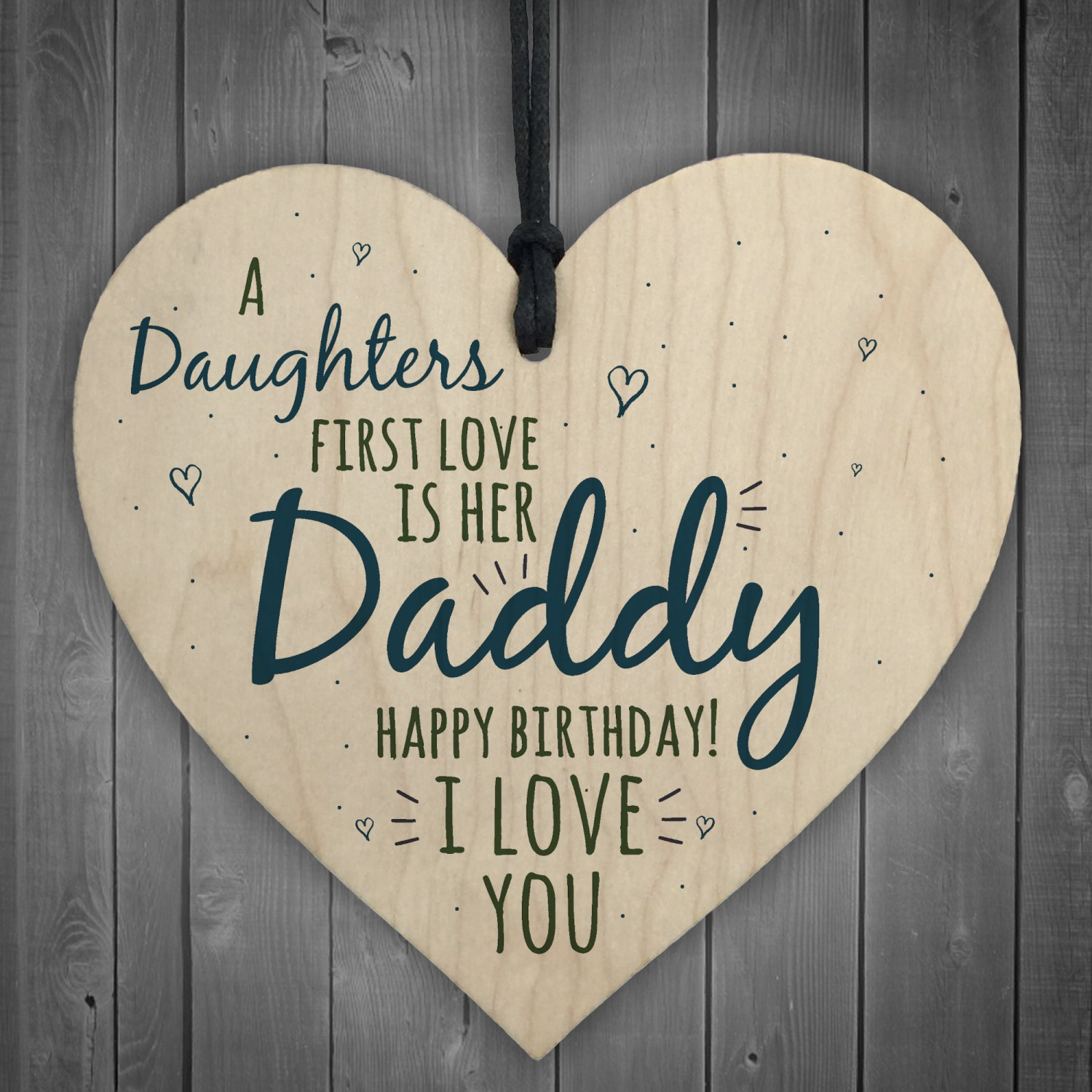 Love Daddy Dad Wooden Heart Happy Birthday Card Gift Son Baby