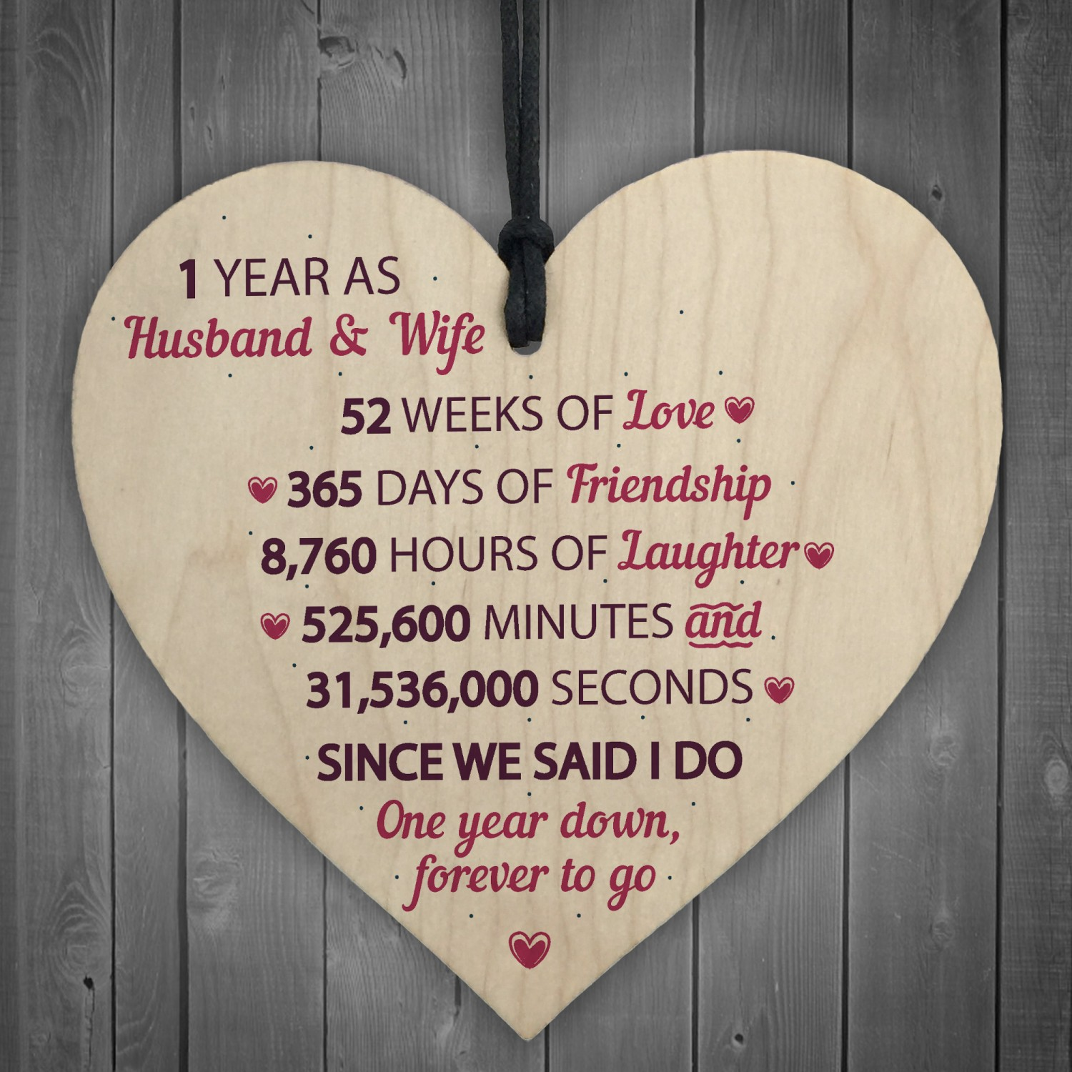1st Wedding Anniversary Gift Wooden Heart First Wedding