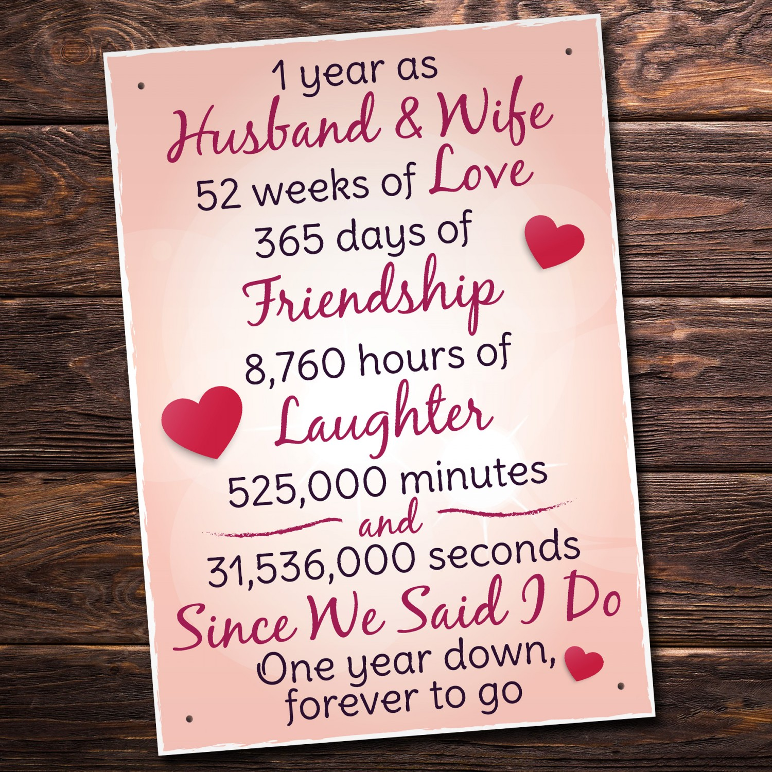 Gift For First Wedding Anniversary To Wife: 1st Wedding Anniversary Plaque Husband Wife Gift For Her Women