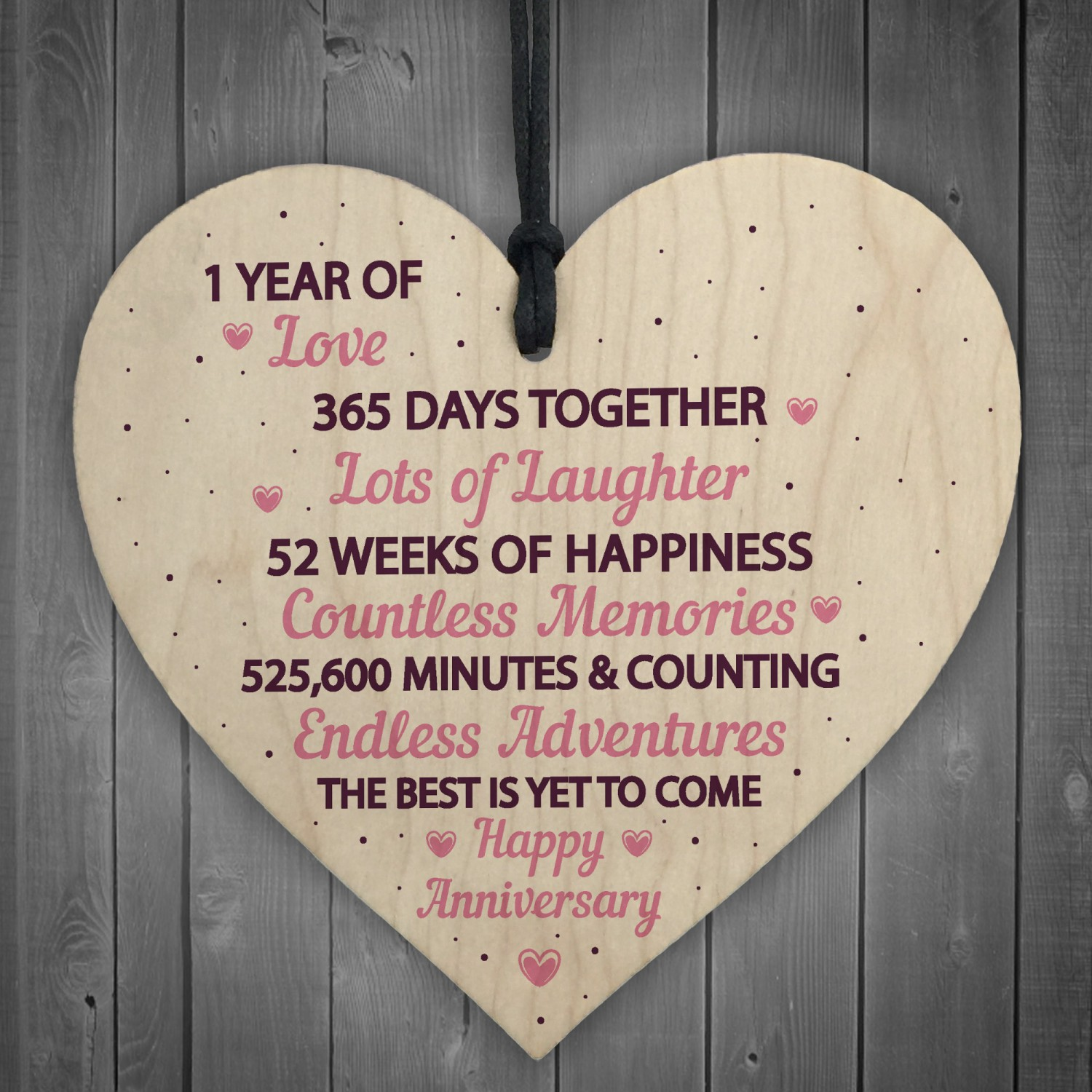 & 1st Wedding Anniversary Gift Wood Heart First Wedding Gift Wife