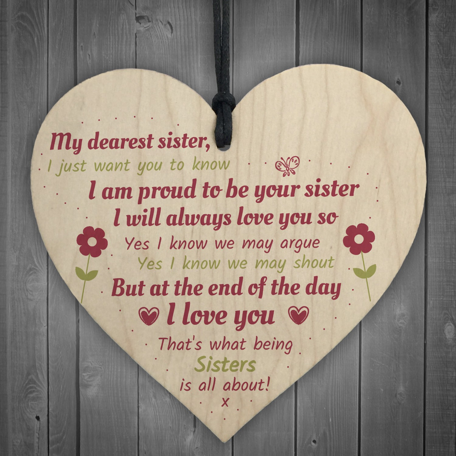 Sister Gift Birthday For Keepsake Poem Wooden Heart