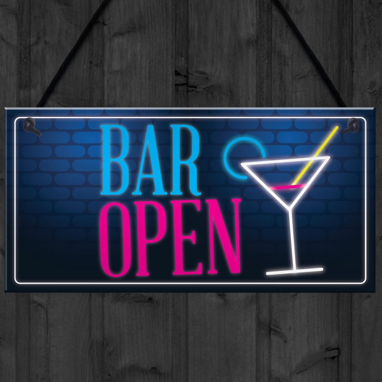Bar Open Sign Neon Effect Home Bar Man Cave Pub Club Plaque
