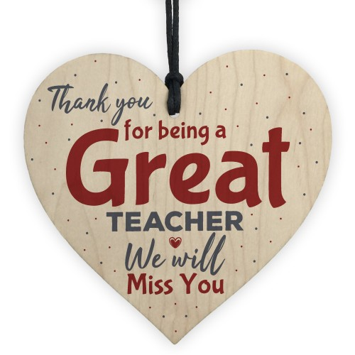 Thank You Teacher Gift Heart Leaving Nursery School Miss You