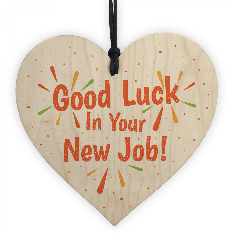 colleague leaving gift good luck new job wood heart gift