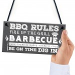 BBQ Rules Garden Wall Plaque Pub Bar Home Sign Man Cave Gift