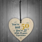 50th Birthday Gift Wooden Heart 50 For Dad Mum Sister Friend