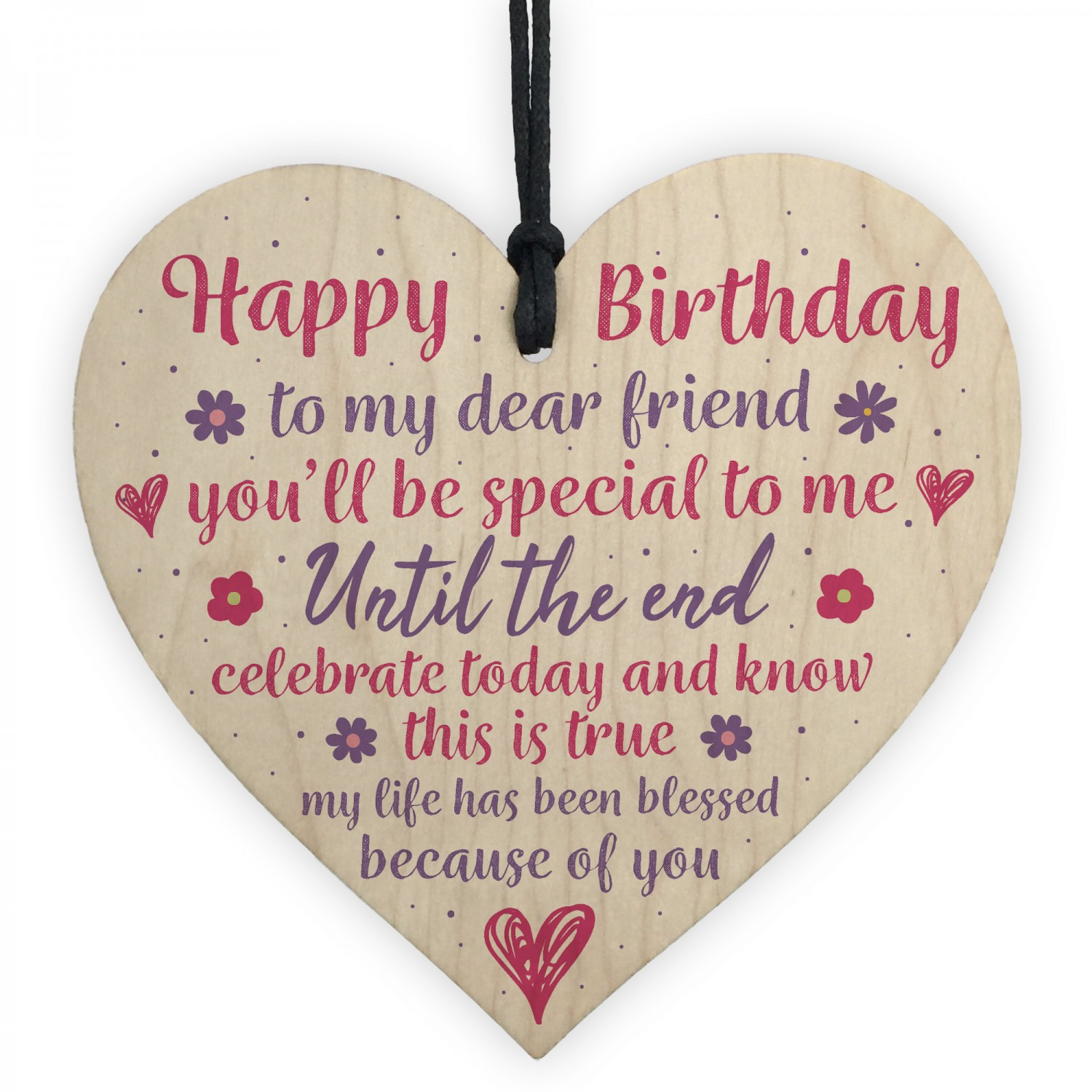 Happy Birthday Friendship Wood Heart Sign Thank You Friend Gift
