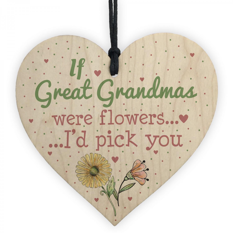 Great Grandma Birthday Gifts Hanging Wooden Heart Christmas Gift
