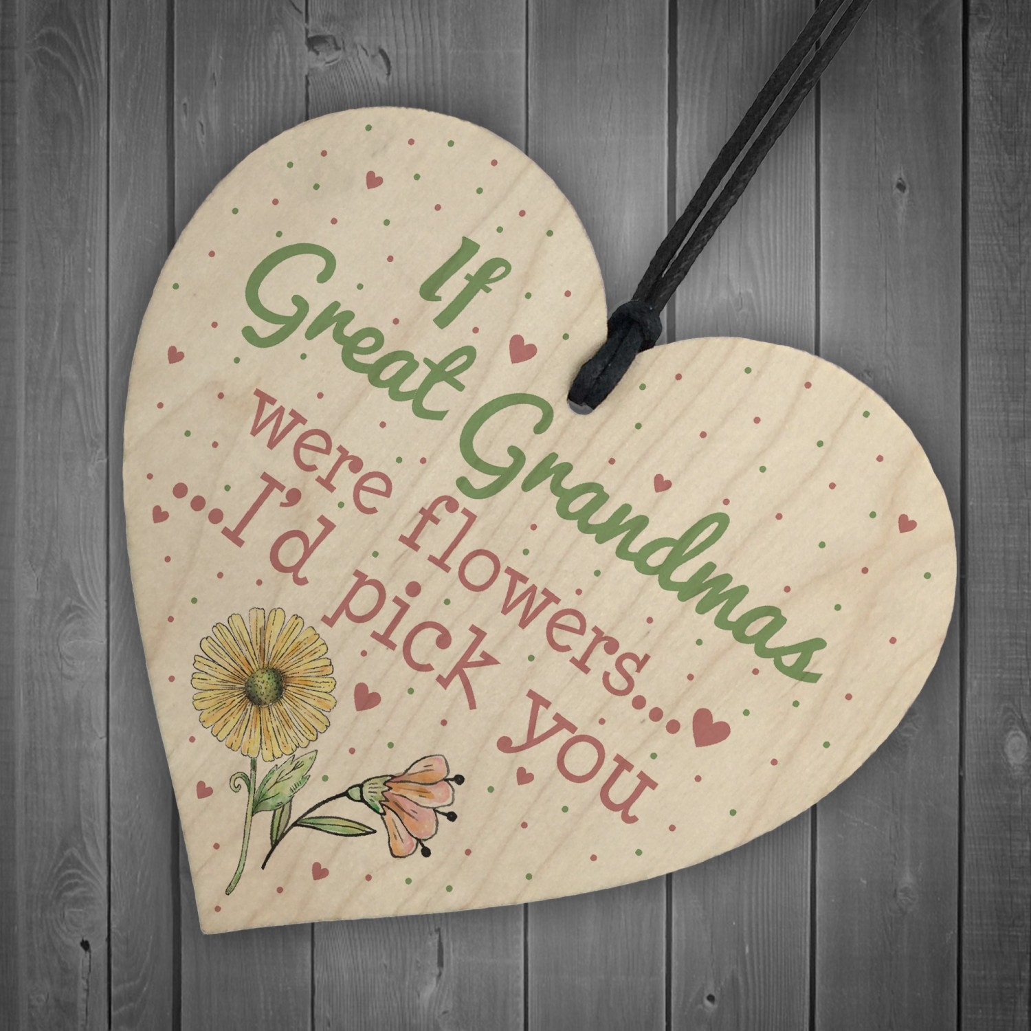 Great Grandma Birthday Gifts Hanging Wooden Heart Christmas Gift