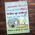 Caravan MotorHome Rules Novelty Gift Plaque Garden Sign