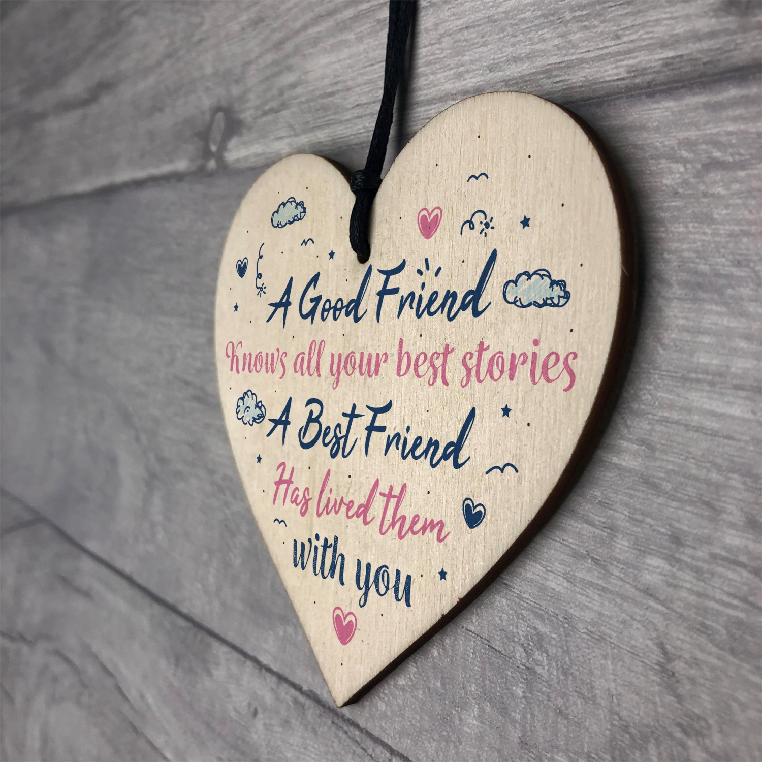 Best Friend Friendship Birthday Gift Handmade Wood Heart Plaque