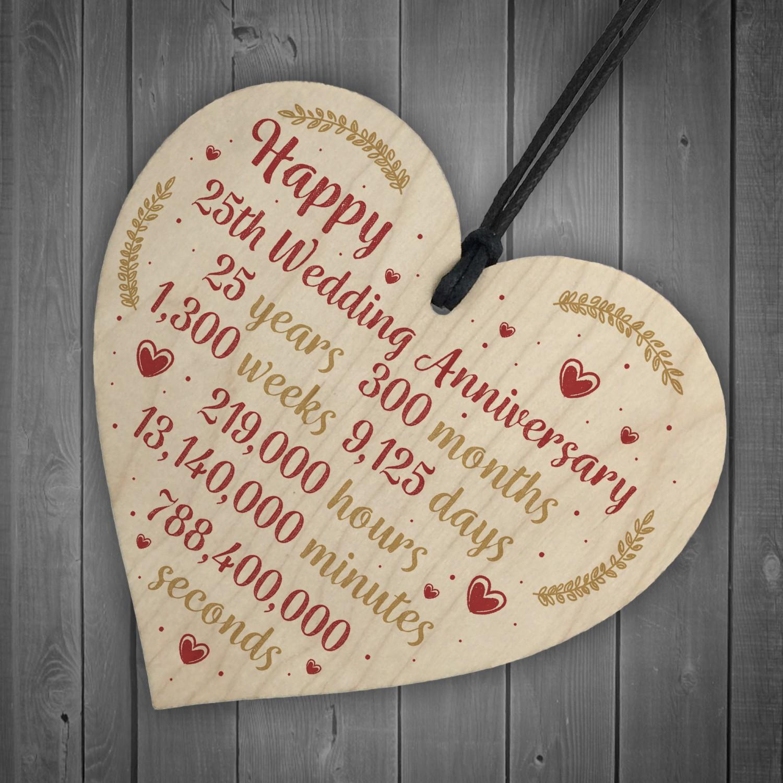 Happy 25th Wedding Anniversary Card Gift Heart Twenty Five ...