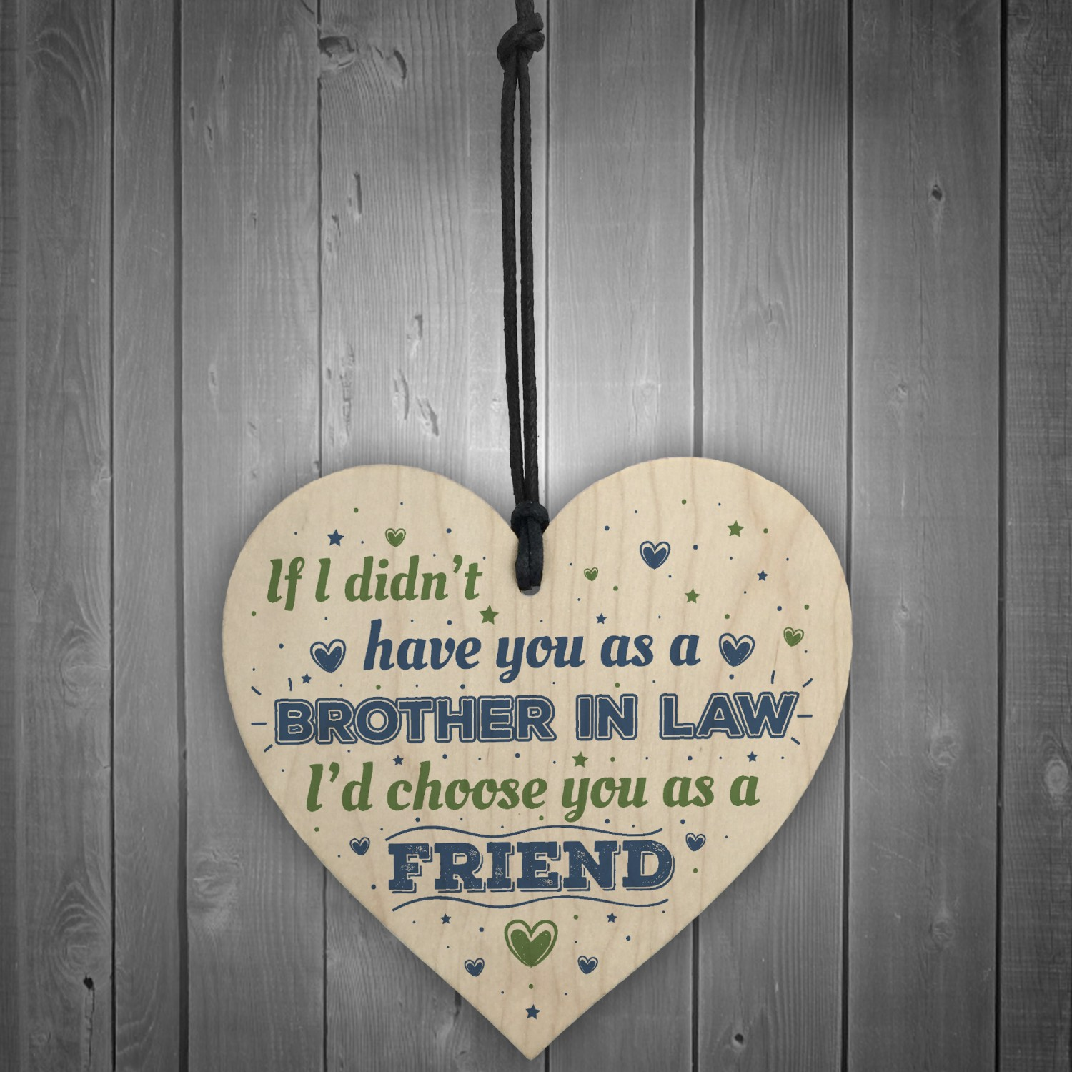 Brother In Law Birthday Gift Card Heart Plaque Friendship