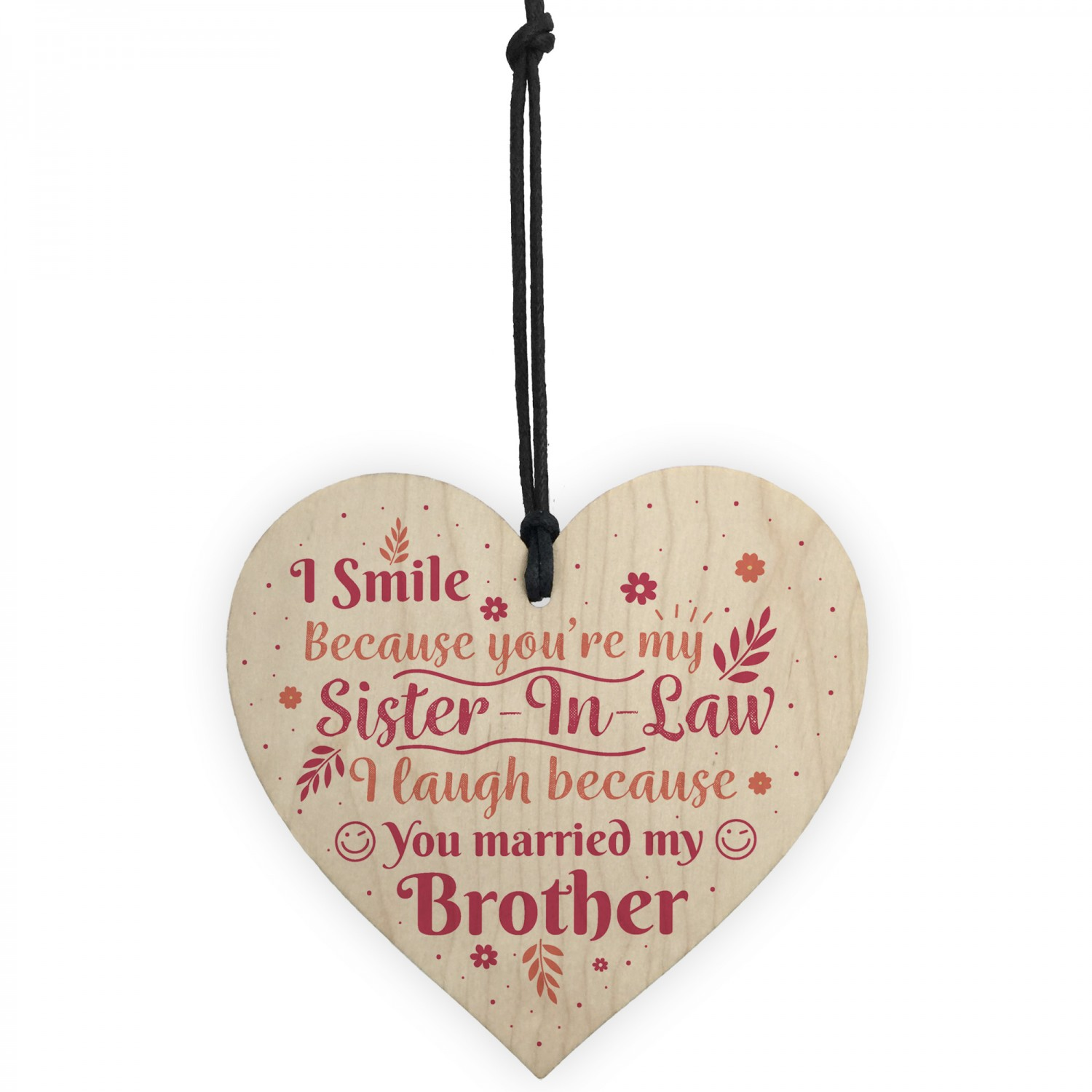 Funny Sister In Law Birthday Card Heart Plaque Keepsake Gifts