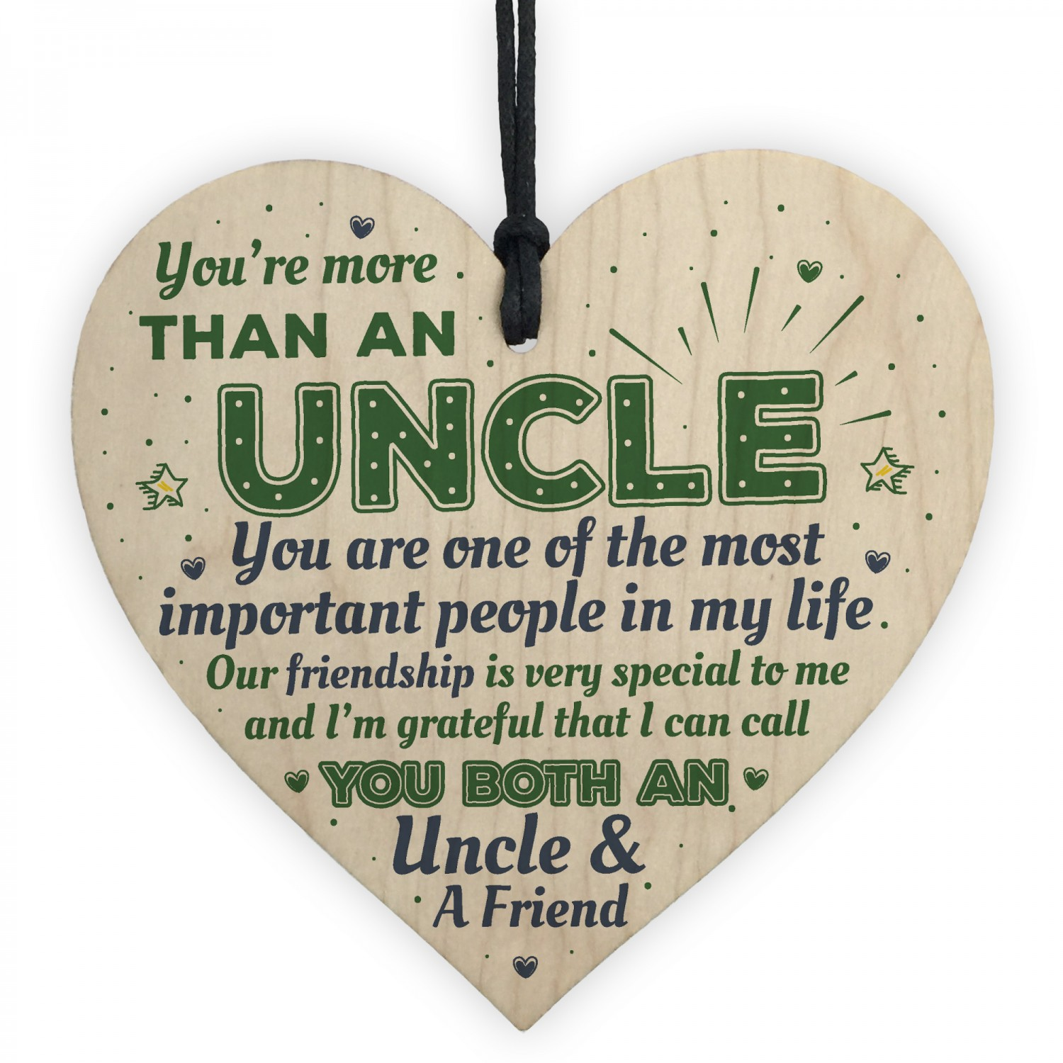 Uncle Friendship Gift Handmade Wood Heart Birthday Plaque