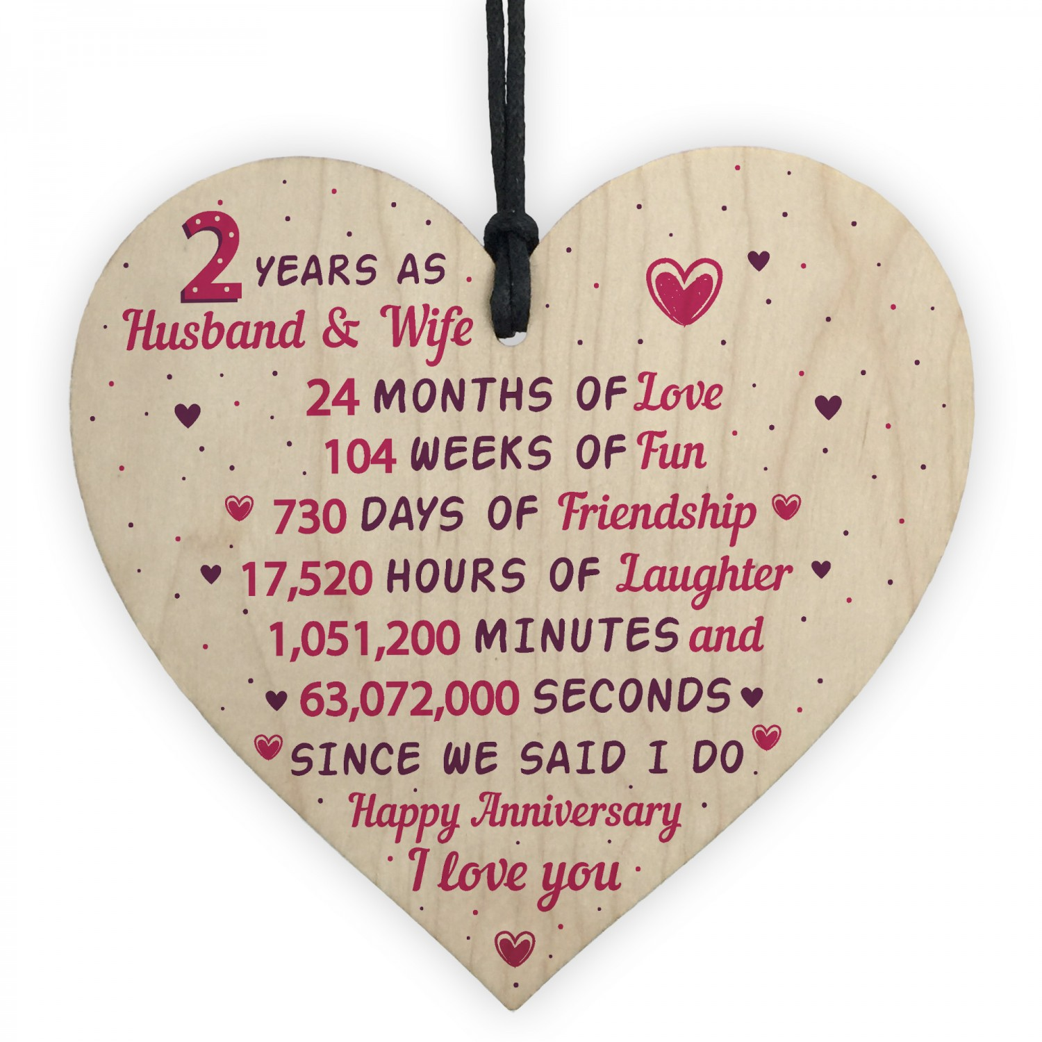 Gifts For Second Wedding Anniversary: 2nd Wedding Anniversary Gift Wooden Heart Cotton Wedding Gift