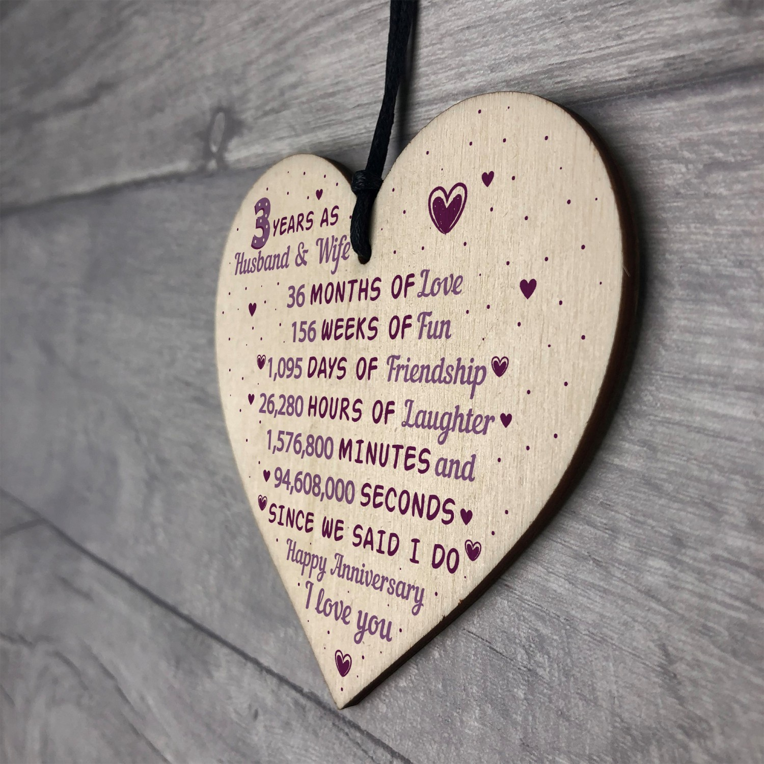 3rd Wedding Anniversary Gift.3rd Wedding Anniversary Gift Wooden Heart Leather Gift