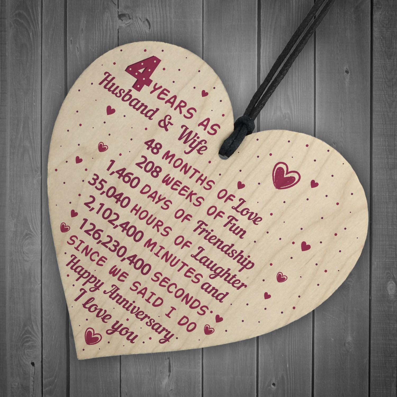 Gift For 4th Wedding Anniversary: 4th Wedding Anniversary Gift Heart Linen Fourth Wedding Gifts