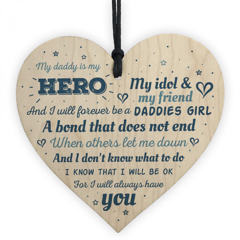 Daddies Girl Dad Gift Handmade Wooden Heart Sign Card Birthday