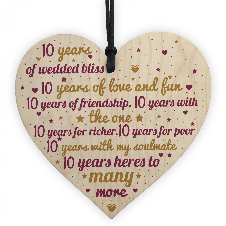 10 Year Wedding Anniversary.10th Wedding Anniversary 10 Year Gift Wooden Heart First Wedding