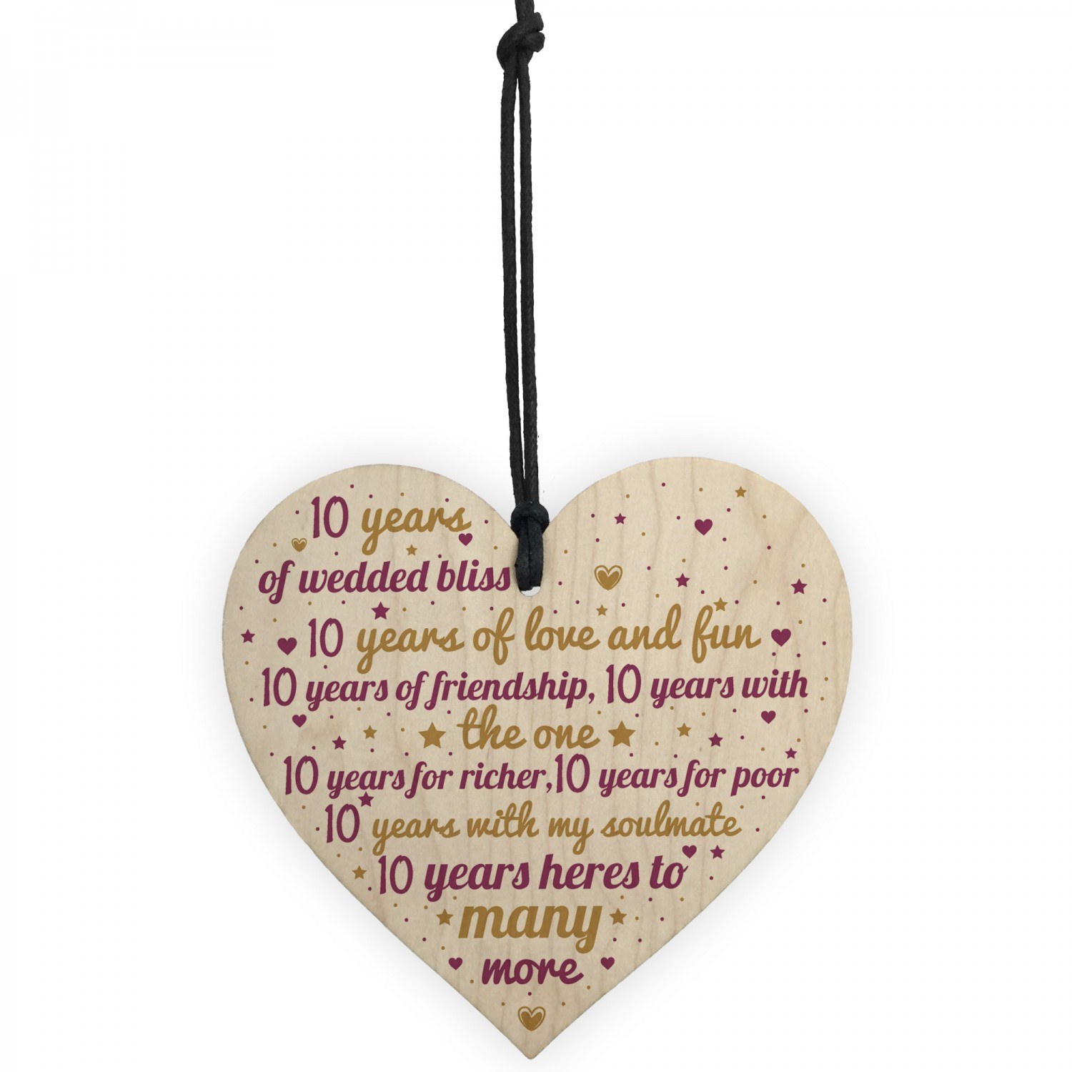 10th Wedding Anniversary 10 Year Gift Wooden Heart First ...