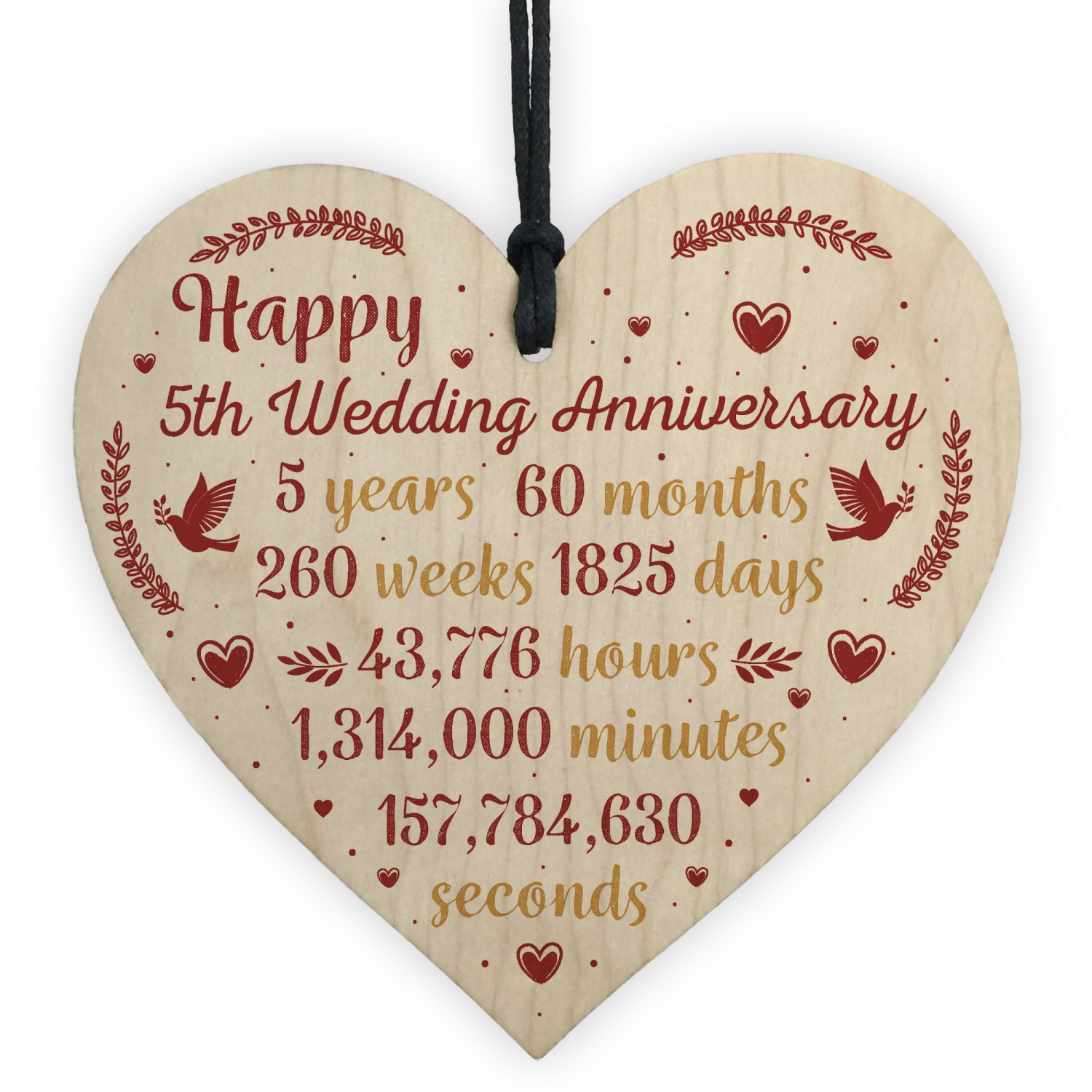 5th Anniversary Gifts For Her: Handmade Wood Heart Plaque 5th Wedding Anniversary Gift