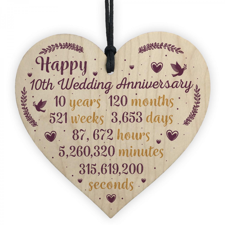 Handmade Wood Heart Plaque 10th Wedding Anniversary Gift