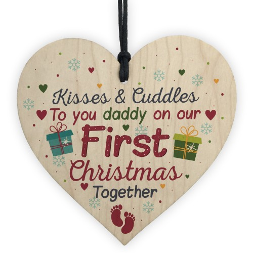 1st First Christmas DAD Gift Bauble Decoration Wooden Heart Sign