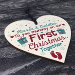 1st First Christmas Xmas Bauble Decoration Wooden Heart Sign
