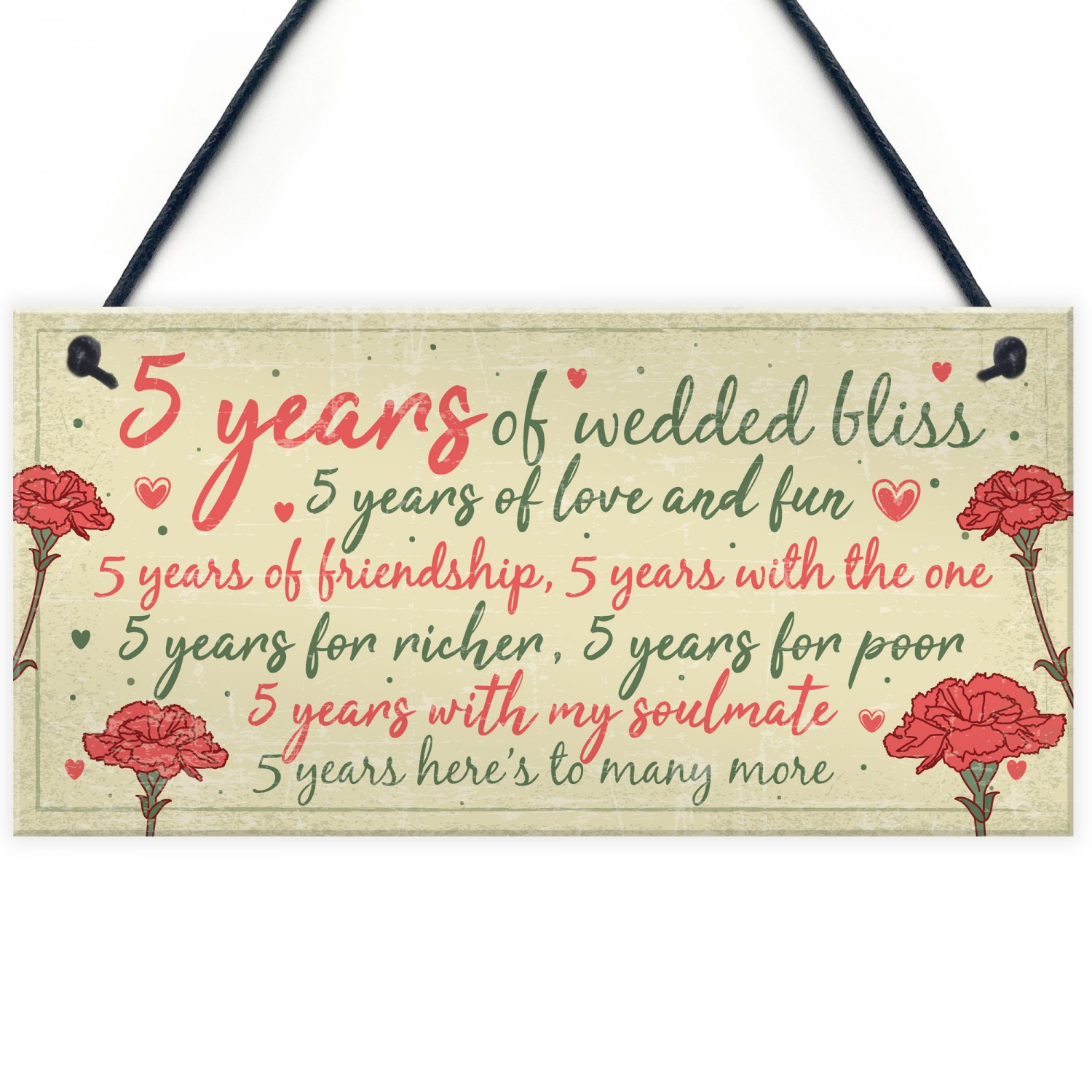 5th Wedding Anniversary Card Gift For Husband Wife Five Year