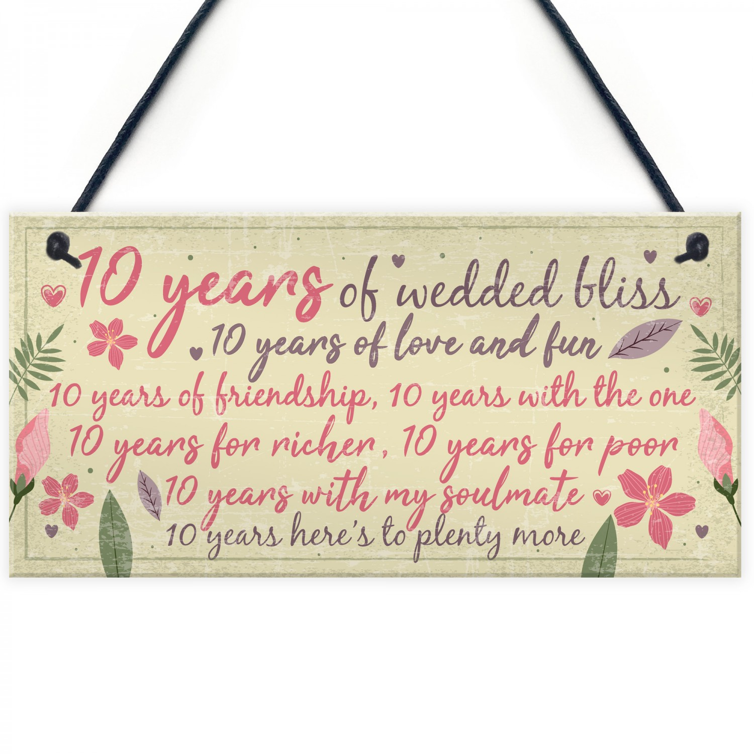 Gift For Wife On Wedding Anniversary: 10th Wedding Anniversary Card Gift For Husband Wife Ten Year