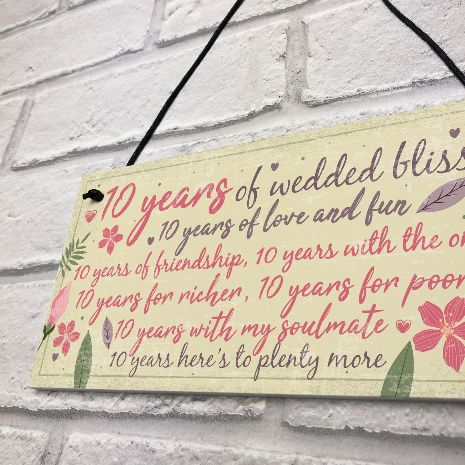 10th Wedding Anniversary Gift For Husband: 10th Wedding Anniversary Card Gift For Husband Wife Ten Year