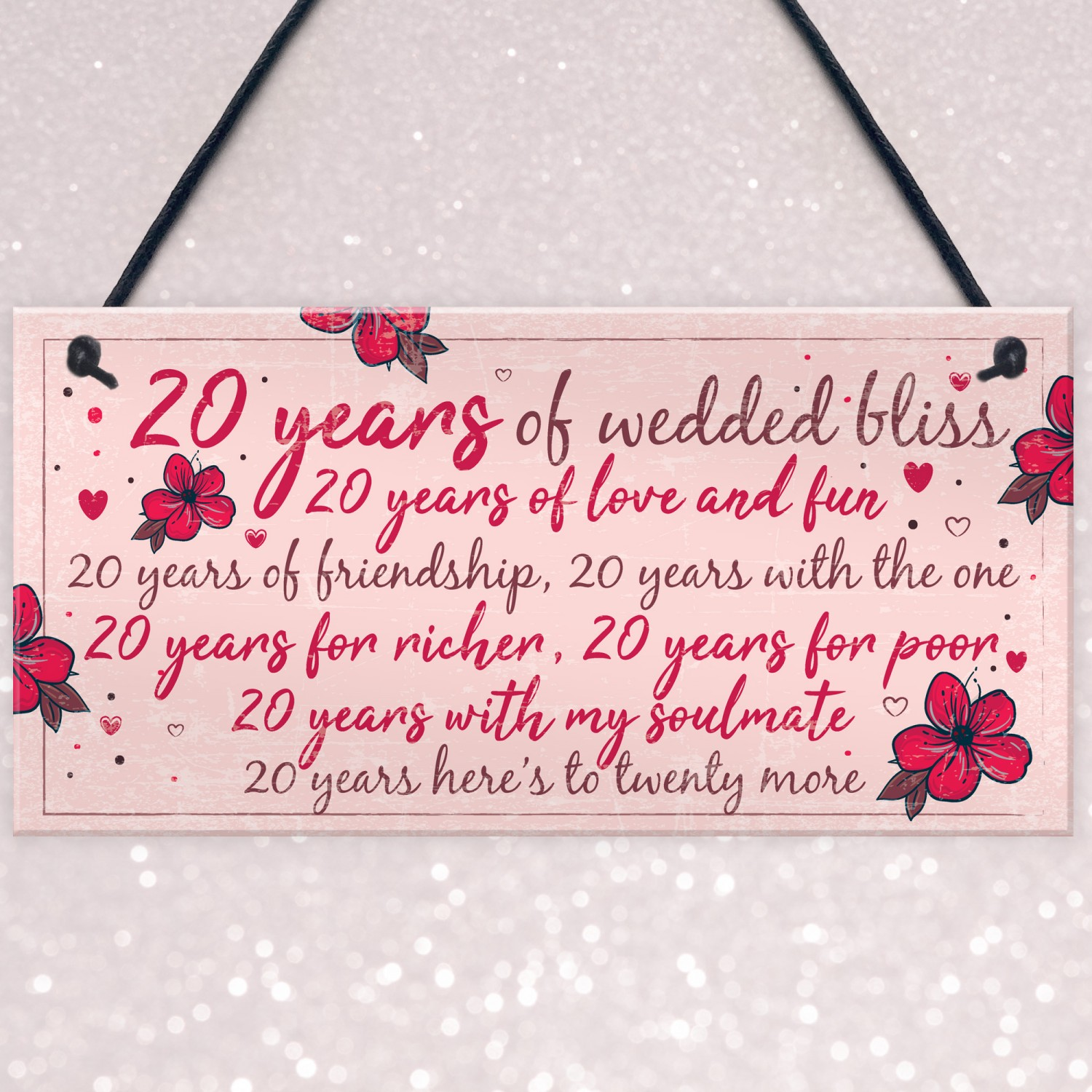 What Is The Gift For 20th Wedding Anniversary: 20th Wedding Anniversary Card Gift For Husband Wife Twenty