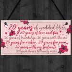 20th Wedding Anniversary Card Gift For Husband Wife Twenty Year