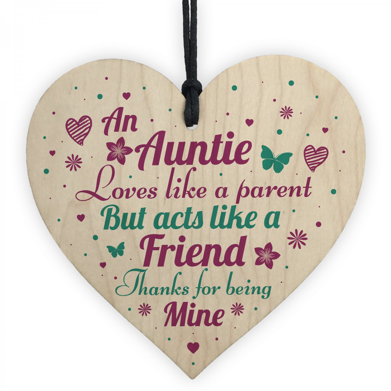 Auntie Gifts Friendship Sister Birthday Wooden Heart Sign